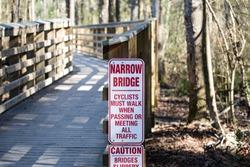 Wooden Walk Way Bridge on a Walking Trail