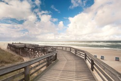 wooden walking path in Wenningstedt on the island of Sylt