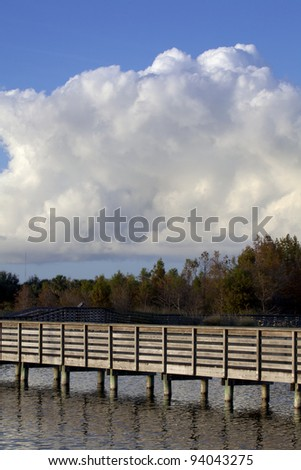 Wooden walkway over lake and wetlands.