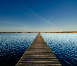 Wooden walkway through a lake on a bright and sunny day during  golden hour with a flock of geese flying by.
