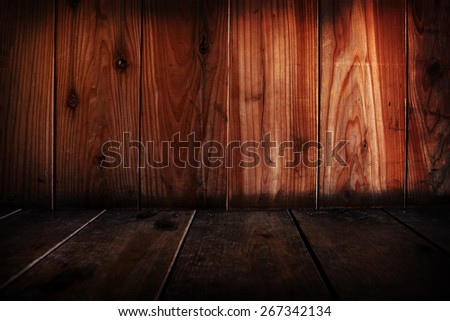Wooden wall and floor abstract. Focus is on wall. #267342134