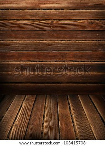 Wooden wall and floor, vintage background - stock photo