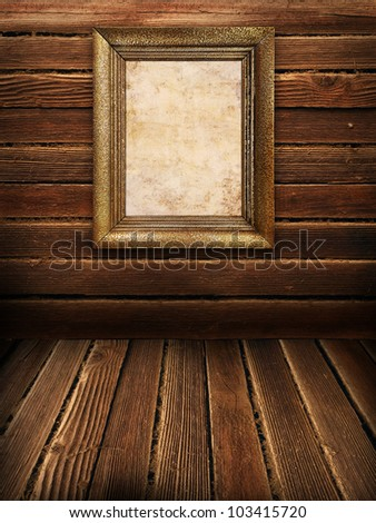 Wooden wall and floor with old frame, vintage background