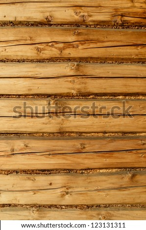 Wooden wall of old rural log house