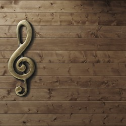 Wooden wall with g-clef