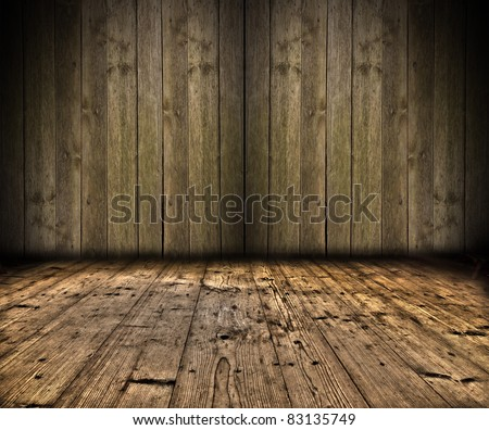 Wooden wall with planks floor