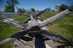 wooden war fence Gettysburg grass and blue sky