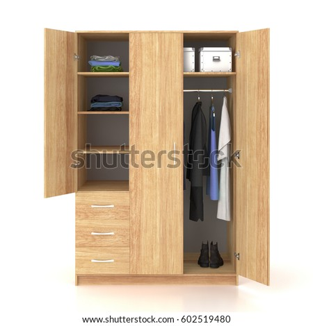 Wooden wardrobe with open doors isolated on white background. Include clipping path. 3d render