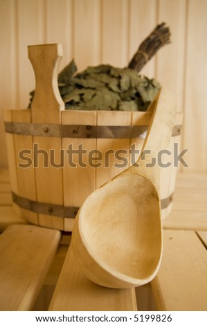 Wooden wash-tub with scoop in steam bath-room 2 - stock photo