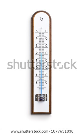 Wooden weather Thermometer isolated on white background.