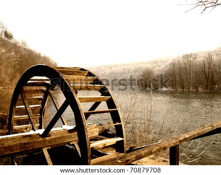Wooden wheel of an old watermill on the river Mreznica in Croatia.