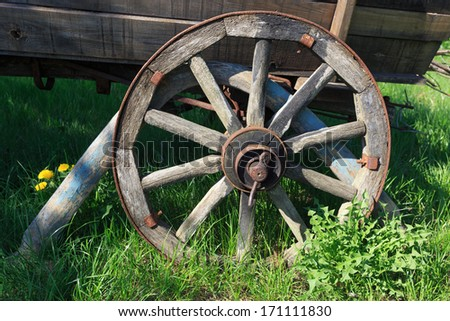 wooden wheel of old carriage
