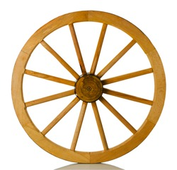 wooden wheel on a white background