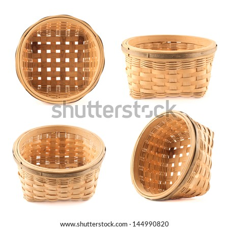 Wooden wicker basket isolated over white background, set of four foreshortening
