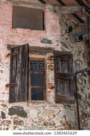 Window Shutter Of An Old Ruined Wooden House Images And