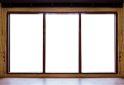 Wooden window frames with desk, isolated on white background