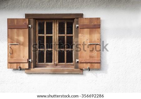 Wooden window shutters #356692286