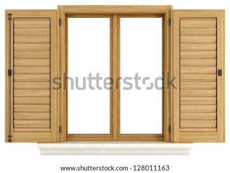 Wooden window with open shutter isolated on white - rendering