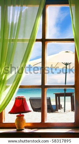 wooden window with sea view