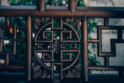Wooden windows with traditional Chinese patterns