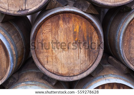 Wooden Wine barrels at the winery