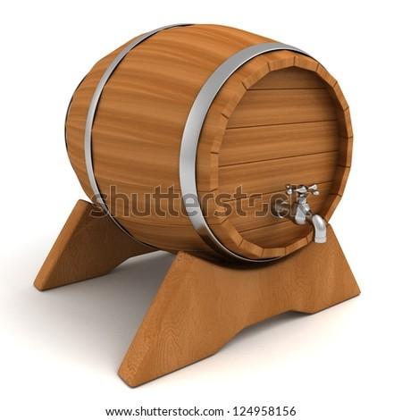 wooden wine storage barrel drum with tap