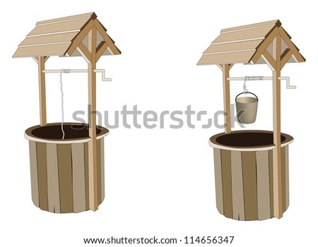 Wooden wishing wells