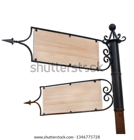 Wooden with a steel frame signpost two pointers isolated on white background #1346775728