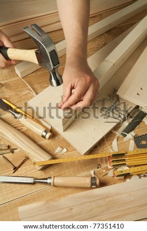 Wooden Workshop Table With Tools Man S Arms Hammering A Nail Ez