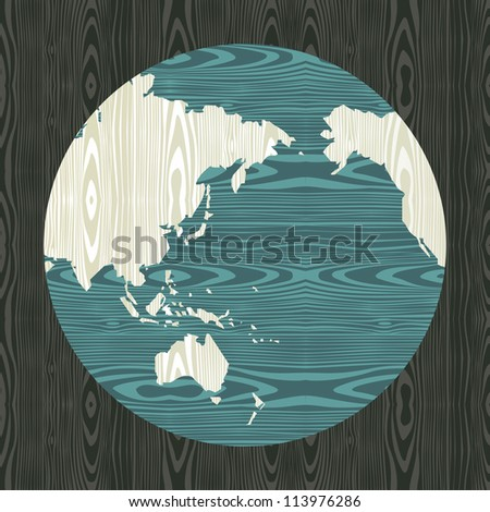 Wooden world shape concept Asia, Australia and Oceania map postcard background. - stock photo