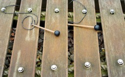 Wooden xylophone outdoor sound sculpture