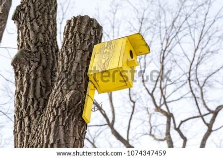 Wooden yellow birdhouse on a high tree in winter park #1074347459