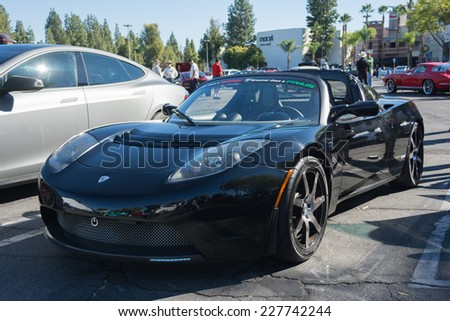 Woodland Hills, CA - November 2, 2014: Tesla Roadster at the Supercar Sunday Electric Vehicles in Woodland Hills, CA.