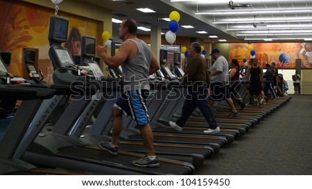 WOODLAND HILLS - JUN 2: Guest working out at the Grand Opening Celebrity VIP Reception of the FIRST SIGNATURE LA FITNESS CLUB on June 2, 2012 in Woodland Hills, California