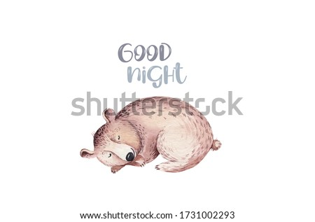 Woodland watercolor cute sleeping animals baby bear. Nursery dreaming bear Scandinavian forest nursery dream design. Isolated character.