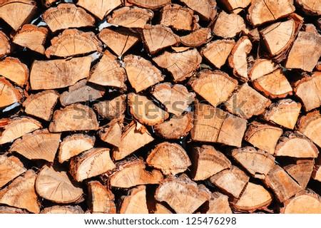 woodpile from dry oak logs