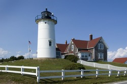 Woods Hole, Falmouth, Massachusetts.  Nobska Light in Falmouth near Woods Hole, Cape Cod, USA