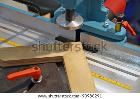 Woodworking machine tool. Woodworking circular saw tool. - stock photo