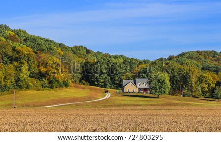 Woody hill in the fall; white house appears on the right; dry soybeans field in the foreground #724803295