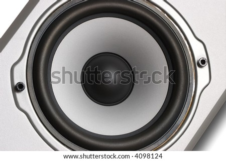 Woofer of Home Theater 2-Way Speaker System, close-up photo. Clipping path included.