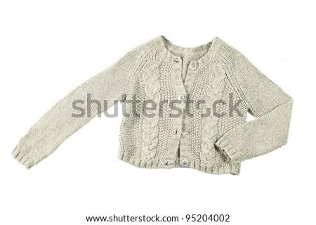 wool cardigan isolated on white background