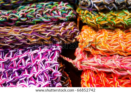 Wool fabrics, colors. Colombia.
