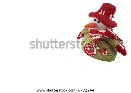 wool Snowman isolated on white. With an