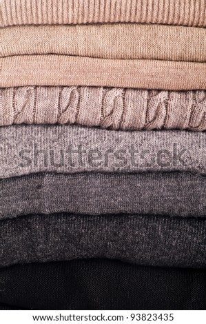 wool sweaters as close up