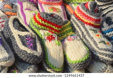Wool warm socks for warm winter. Handmade decoration. #1249661437