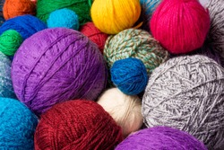 wool yarn ball. Colorful threads for needlework. Colorful fabric texture background