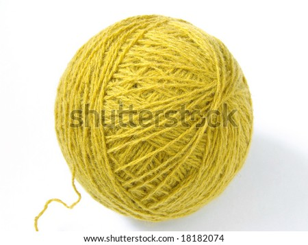 wool yarn skein at the white background