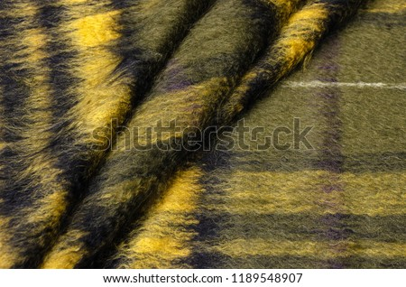 Woolen fabric with black and beige mohair for coat