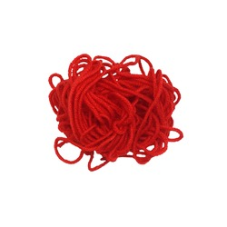 woolen red tangle of thread for knitting, isolated white background