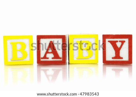 Word Baby in wooden blocks